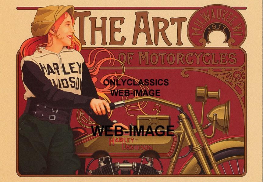 1917 Vintage Motorcycle Racing Graphics Art Poster Woman