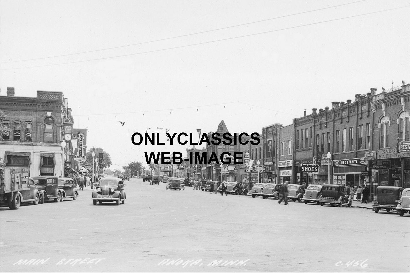 1930 39 s anoka minnesota main street photo neon signs old for Main motors anoka mn used cars