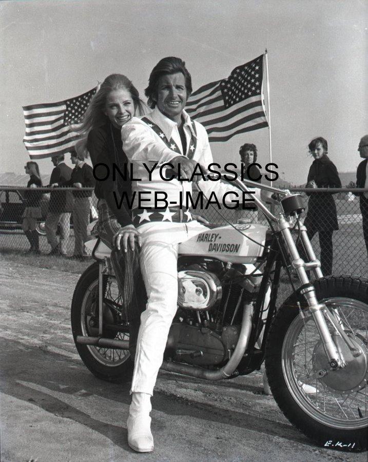 George Hamilton as Evel Knievel Harley Davidson XR750 Motorcycle Photo