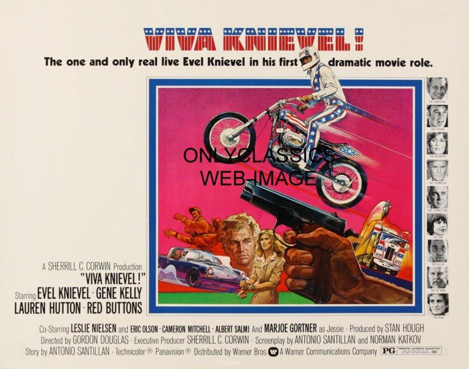 Vintage Evel Knievel In His: 1977 VIVA KNIEVEL MOTORCYCLE MOVIE POSTER DAREDEVIL EVEL