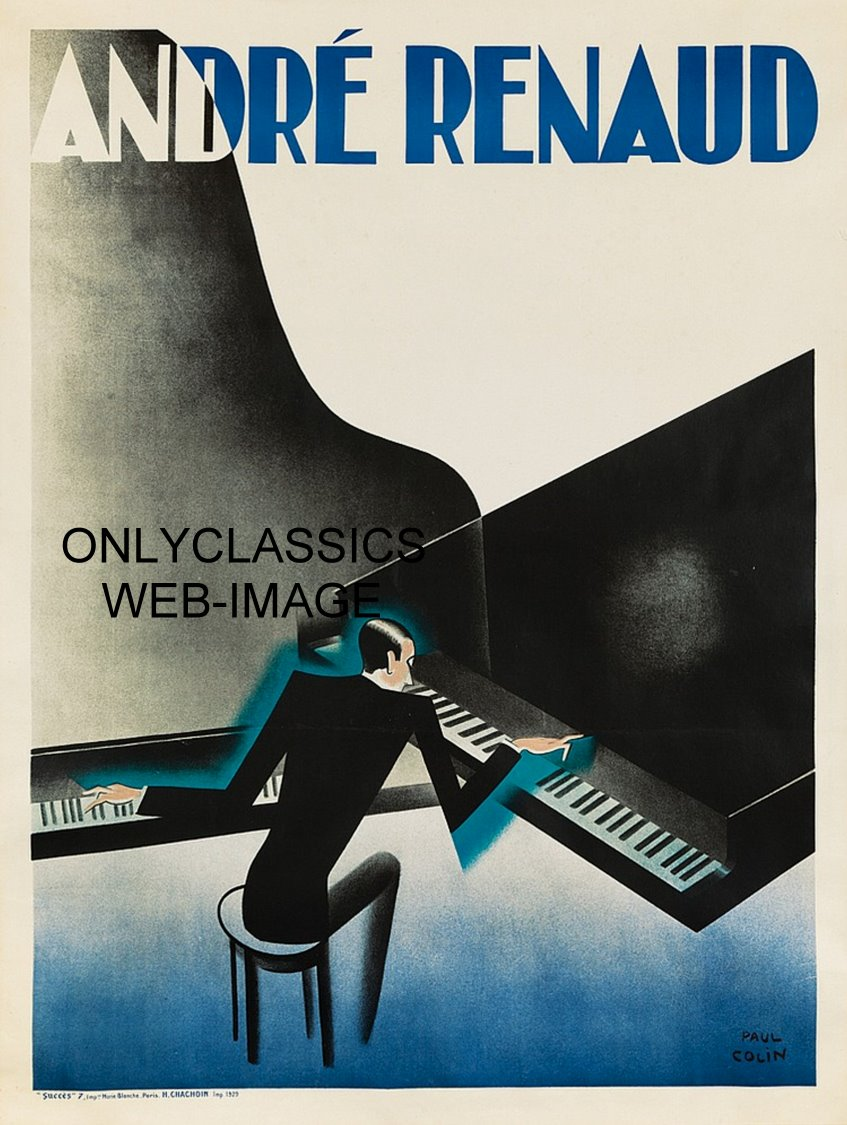 1929 andre renaud dual playing grand piano paul colin art deco poster graphics ebay. Black Bedroom Furniture Sets. Home Design Ideas