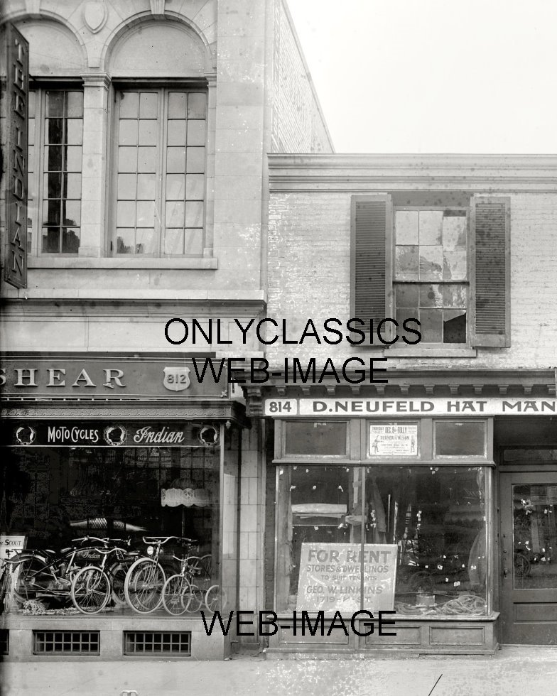 1920 INDIAN MOTORCYCLE & BICYCLE DEALER SHOWROOM PHOTO THE