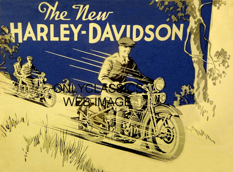 Harley Davidson Advertising: 1932 THE NEW HARLEY DAVIDSON MOTORCYCLE ADVERTISING POSTER