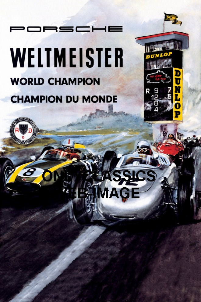 1960 porsche world champion grand prix auto racing poster f1 indy 500