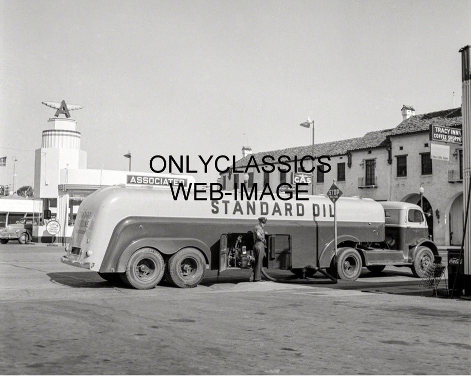 1942 Standard Oil Truck Delivering Gas To Station Photo