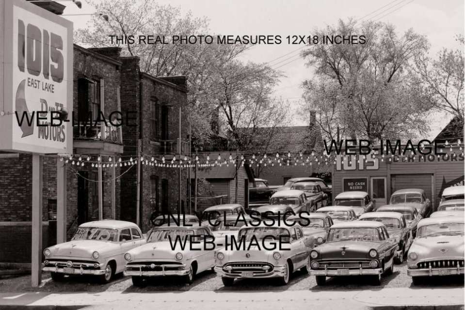 56 used car auto dealer lot mn 12x18 photo buick olds chevrolet ford automobilia ebay. Black Bedroom Furniture Sets. Home Design Ideas