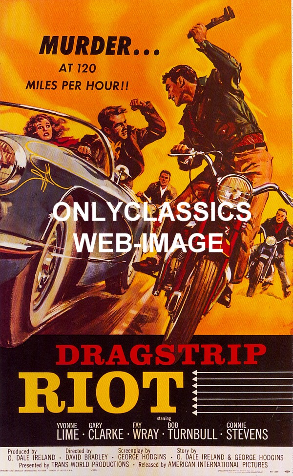 1958 quotdragstrip riotquot auto racing movie poster motorcycle