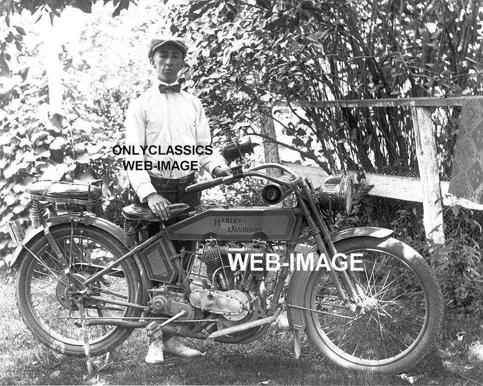Harley Davidson: 1915 HARLEY DAVIDSON V-TWIN VINTAGE MOTORCYCLE-RIDER-ALL