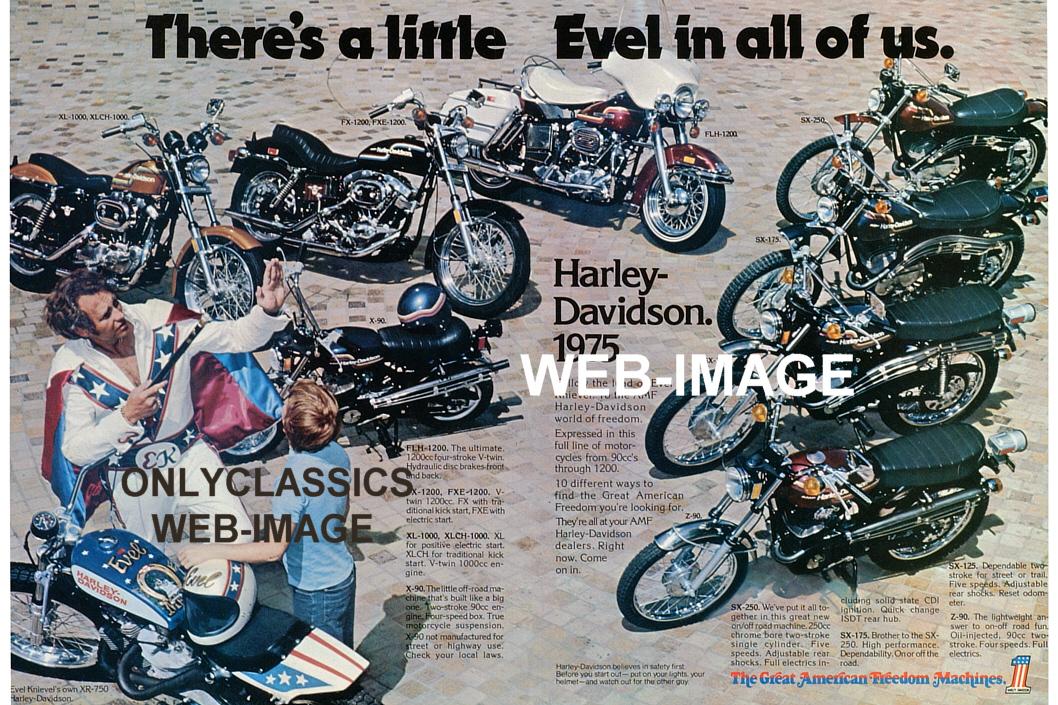 Harley Davidson Xl1000 Used Evel Knievel Viva Motorbike: 1975 HARLEY DAVIDSON XR-750 MOTORCYCLE LINEUP POSTER Evel