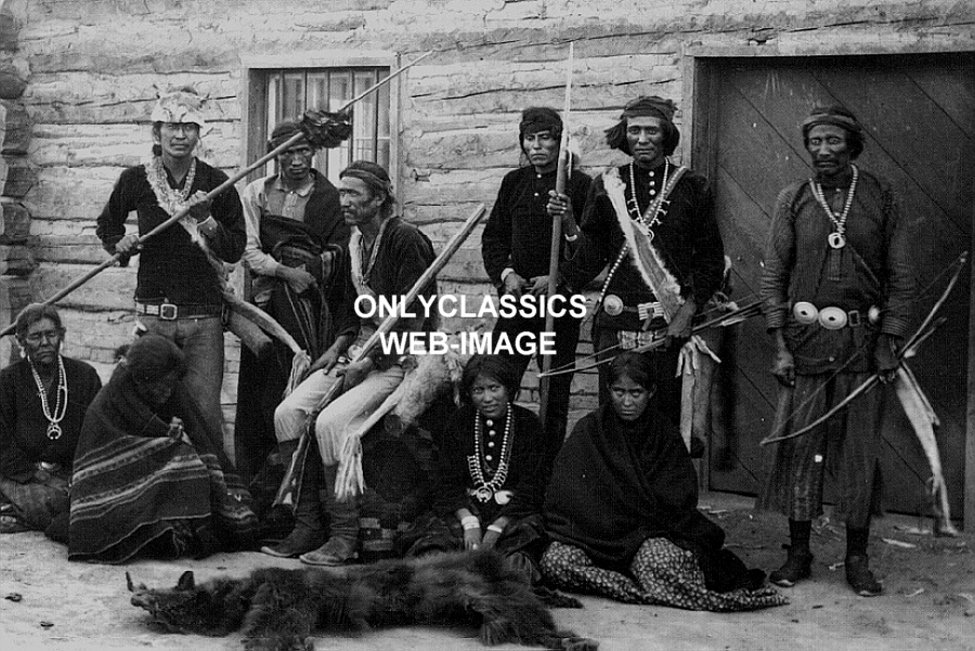 1880's NAVAJO INDIAN HUNTING PARTY SQUAW BOW & ARROW BEAR ...